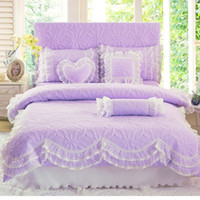 Wholesale gray queen bedding sets online - Cotton Princess Lace Bed skirt solid colors Bedding Set Duvet Cover Bed Sheet Pillowcase Bedding Set home textiles bedclothes