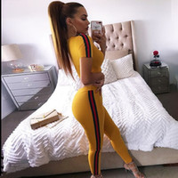 Wholesale Tracksuit Womens - Womens TrackSuit Sexy Yellow Crop Top And Legging Pants 2 Piece Set Summer 2018 Fashion Female Workout Suit Stripe Fitness Wear