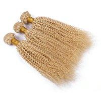 destruição do cabelo humano venda por atacado-Afro Crespo Encaracolado 613 Extensão Do Cabelo Brasileiro Virgem Tecer Cabelo Humano Platinum Pacotes de Cabelo Loiro 3 Bundles Loira Unprocess Bundles