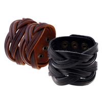 Wholesale mens wide leather cuff bracelets - whole saleWholesale Vintage Europe Leather Braided Bracelet Handmade Mens Wide Leather Wristband
