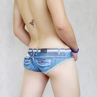 hombre sexy ropa interior apretada al por mayor-Escritos de algodón de los hombres Hombre gay Sexy Low Rise Tight Underwear Short Trunks Venta caliente Jeans Underpants Printed Fashion Asian Size