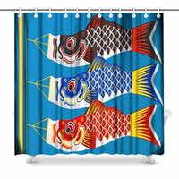 céu voando venda por atacado-Aplysia japonês Koinobori Peixe Carpas Flags Artisan gráfico Tecido Trabalho decoração do banheiro cortina de chuveiro Conjunto com Hooks 72 polegadas