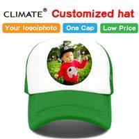 kız başlıklar fotoğrafları toptan satış-İKLIM Fotoğraf DIY Özelleştirilmiş Baskı Beyzbol Trucker Kap Şapka Yetişkin Çocuk Çocuk Boy Kız Adı Isı Baskı Özelleştirmek Caps Şapka