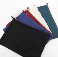bolsa de lona lisa al por mayor-5PCS 34cm * 24cm Multicolor en blanco bolsa de cosméticos de algodón natural a4 bolsa de cremallera de lona natural llanura en blanco bolsa de maquillaje de la cremallera de IPAD