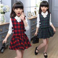 Wholesale Clothes For Teenage Girls - 2016 spring autumn girls clothing set plaid 3pcs set cotton girls school uniform teenage clothes sets suits for