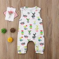 Wholesale cartoon onesies - Baby Boys Girls Cartoon Cactus Jumpsuit Sleeveless Cotton Romper Lovely Newborn Baby Onesies Outfit Bodysuit Boutique Kid Clothing set