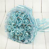 künstliche blumen lichter großhandel-Hellblauer Brauthochzeits-Blumenstrauß Bunte Silk Hochzeits-Zusätze Künstliche Brautjungfern-Blumen-Perlen bördelt die Braut, die Blumen CPA1595 hält