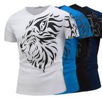 ingrosso camicia di stampa di leone-2018 Nuova moda estiva Mens Tee Fashion Lion Head Print Shorts Tops Mens Casual T Shirt