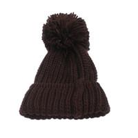 Wholesale Wholesale Cuffed Beanies - Women Winter Slouch Knit Cap Warm Oversized Cuffed Beanie Crochet Ski Bobble Hat -MX8