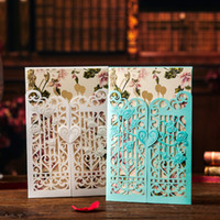 ingrosso carte d'invito blu d'oro-Spedizione gratuita 20 X White / Blue Invitation Card Gold Busta doratura Laser Cut Invitation Card Forniture per feste nuziali