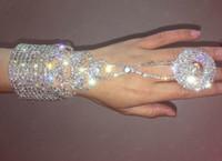 silberne sklavenarmbänder großhandel-Silber Klar Kristall Strass Abend Hand Kette Slave Armband Ring Coil Wrap Körperschmuck Dekoration Hochzeit Bridal Bangle