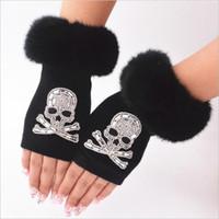 Women Cartoon Animals Fingerless Dance Gloves Winter Warm Short Plush Diamonds Sequins Skull Fingerless Knitted Gloves G102