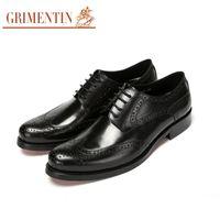 Wholesale wingtips shoes men - GRIMENTIN 2018 new Brand mens shoes UK designer men oxfords shoes genuine leather wingtip carved classic mens formal shoes size:38-44 SH228