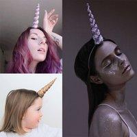 parlak renkler karışımı toptan satış-Karışık renkler DIY Çocuklar Glitter Unicorn Boynuzları Kafa Çocuk Unicorn Parti Hairband Şapkalar Kızlar Saç Bandı Aksesuarları