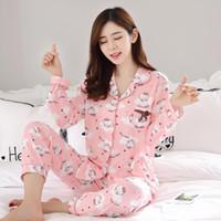 kiz zarif elbise toptan satış-Zarif Lüks Kadınlar Rahat Pamuk Pijama Set Kız Baskı Pijama Takımı Uzun Kollu Pijama Takım Kadınlar Gecelik Setleri