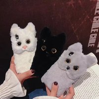 Wholesale lovely cat iphone online - Luxury Warm D Cat Plush Fur Phone Case For iPhone X XS XR XS MAX S Plus Lovely Cute Furry Soft TPU hair Back Cover