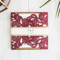 Wholesale gold moves - Fall Burgundy Laser Cut Wedding Invitations With Gold Glittery Belly Band Provide Free Printing, Free shipping