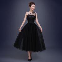 Wholesale sheer polka dot dress - Black Prom Dresses 2018 Cheap One Shoulder Polka Dot Tulle Tea Length Party Evening Gowns Vestido De Festa