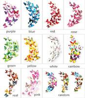 mariposas 3d decoracion de pared al por mayor-12 Unids set 3D Doble capa Mariposa Etiqueta de La Pared en la pared para la Decoración Del Hogar DIY Mariposas Nevera Imán pegatinas decoración de la habitación