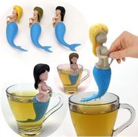 ingrosso attrezzo del filtro del sacchetto del tè-3 Colori Sirena Tè Infusore Food Grade Silicone Strainer Creativo Creatura Mitologica Bustina di Tè Sirena Strumenti filtro Tè I295