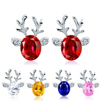 Wholesale pink reindeer resale online - Christmas Reindeer Stud Earring Cute Three Dimensional Crystal Earrings Kids Christmas Gifts Red Blue Pink White Colors Jewelry