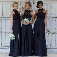 vestidos azules asequibles al por mayor-Vestido de dama de honor modesto de encaje de fiesta Vestido de dama de honor azul marino asequible de vestidos de novia para la boda Vestido largo de gasa de línea de una gasa dividido