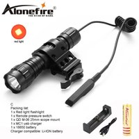 Wholesale red lantern battery - AloneFire 501Bs LED Flashlight Red Light Portable Outdoor Camping Hunting Flash Light Lantern Tactical Torch Light 18650 Battery