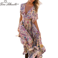 пляжные платья оптовых-TIME SILHUETTE Summer Beach Boho Dress Floral Print Deep V Neck Long Women Dress Batwing Sleeve Maxi Vestidos L510