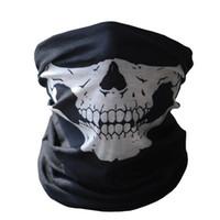 schädelmasken militär groihandel-Hot Black Skull Maske Bandana Bike Motorrad Helm Hals Gesichtsmaske Halbe Gesicht Paintball Ski Sport Stirnband Military Spiel Masken