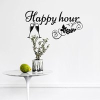 Wholesale grapes for decor resale online - Happy Hour Kitchen Wall Stickers Home Decor Wine Glass And Grape Wall Decals Decorations For Walls