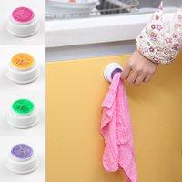 Wholesale kitchen towel hooks wall resale online - Round PVC Plastic Towel Hooks Colorful Hanger Sucker Wall Bathroom Washroom Hanger Rack Holder Kitchen Tool bs Z