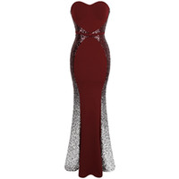 Wholesale strapless gradient prom dress for sale - Group buy Angel fashions Prom Dresses Sweetheart Gradient Sequin Contrast Color Bow Sashes Splicing Dress Evening Dresses Wine Red