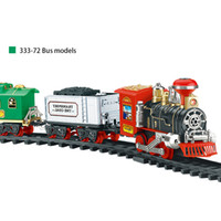 Wholesale paper tracks online - hot newest Electric Rechargeable Steam Smoke Train Model Truck Car Track Toy Remote Suit