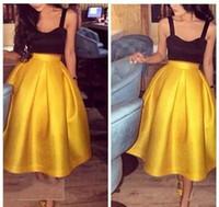 vestido de otoño amarillo niña al por mayor-Otoño de 2018 Vestidos de fiesta para chicas sexy Correas espaguetis Una línea de té Negro y amarillo Dos piezas Vestidos de baile Dos tonos