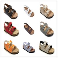 Wholesale Light Purple High Heel Shoes - Famous Brand Arizona Men's Women Flat Heel Sandals Multaicolor With Buckle Summer Beach Casual Shoes High Quality Genuine Leather Slippers