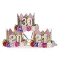 erwachsene tiaras groihandel-Nummer 20. 21. 30. 20. 21. 30 Jahre Ältere Erwachsene Mädchen Frauen Geburtstag Hut Prinzessin Krone Tiara Dekoration Geschenk Haarschmuck
