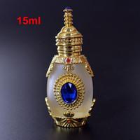 parfüm 15ml toptan satış-Cam Damlalık Ortadoğu Şişe 15ml Antiqued Metal Froste Cam Parfüm Şişesi Arap Stil Uçucu Yağlar Şişe