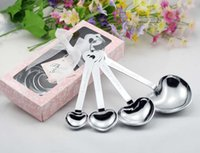 Wholesale Measuring Love - Wholesale- Love Beyond Measure Heart Measuring Spoons in Gift Box for wedding favors and gifts (50 sets) with FEDEX DHL Free Shipping