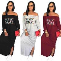 maxi camiseta larga al por mayor-2018 camiseta casual vestidos largos Hombro fuera del vestido de costura Ladies Vestidos sexy Split Maxi vestido bodycon tallas grandes ropa de mujer