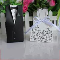 sac cadeau mariée achat en gros de-Nouveau Creative Designer Groom Bride Cadeau Sac Hirondelle Queue De Mariage Robe Boîte De Bonbons Multi Couleur Chocolats Boîtes Pliant 0 15lw aa