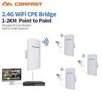 Wholesale repeater for router - 10pcs DHL 1-2km long range amplifier Mini wireless bridge wifi router repeater COMFAST 2.4ghz 300mbps outdoor CPE for ip camera