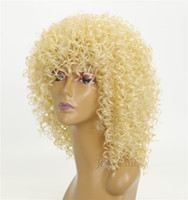 ingrosso nuove parrucche bionde-Parrucca di colore bionda riccia Afro Kinky calda libera di trasporto per le donne Parrucca bionda sintetica di Cosplay