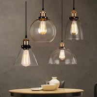 vintage industrie deckenleuchten großhandel-Vintage Pendelleuchten Glas Hanglamp E27 industrielle Pendelleuchten Beleuchtung Bar Cafe Küchenarmaturen Leuchte Deckenleuchten