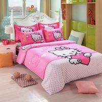 ingrosso letti gratuiti per i bambini-Hello Kiy Bedding Set Bambini Coon Bed Sheets Hello Kiy Copripiumino Lenzuolo Federa Twin Full Queen Free