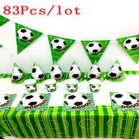 Wholesale football party favors - 83pcs  Lot Football Set Football Dishes Kids Birthday Party Favors Happy Birthday Party Set Supplies Football Paper Plate