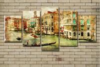 ingrosso dipinti astratti acqua-5 PZ Dipinti su tela Soggiorno Decorazioni per la casa Immagini astratte 5 pezzi Venezia Water City Paesaggio marino Poster Quadro Quadro