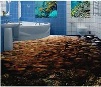 Plant Non Woven Sound Absorbing Wallpaper For Bathrooms Sea World Fish  School 3d Pvc Floor Wallpaper