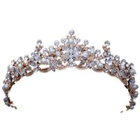 Wholesale pearl head dress - baroque crown New European and American handmade Crown Crystal Wedding dress head ornaments 2018 new free shipping 1-21