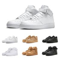 d2adab9d5 nike air force 1 Clásico Blanco Negro zapatos de las fuerzas 1 Un hombre  Mujer Zapatillas de deporte Trigo Skateboarding Zapatos deportivos  Entrenadores ...