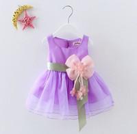 vêtements d'enfants pour les mariages achat en gros de-6 Couleur Été Bébés Filles Robes Princesse Arc Mariages Arc Robe Enfants Costume De Fête D'anniversaire Vêtements Pour Enfants Pour 2-5Y